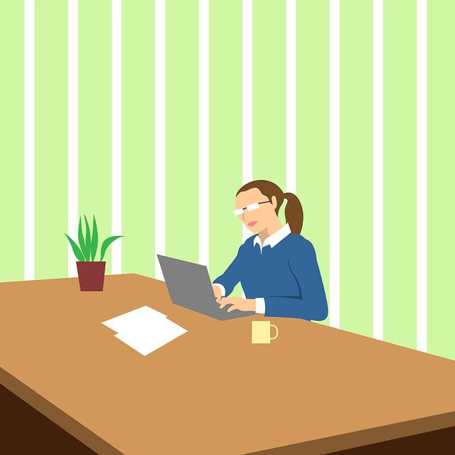 práce v kanceláři ilustrace