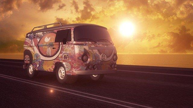 hippie dodávka, západ slunce